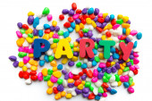 Party word in colorful stone — Stock Photo