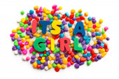 Its a girl word in colorful stone — Stock Photo