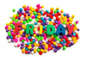 Friday word in colorful stone — Stock Photo