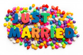 Just married word in colorful stone — Stock Photo