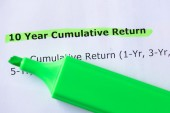 10 Year Cumulative Return — Stock Photo