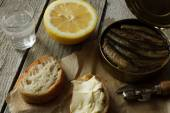 Sandwich with sprats, national food in Russia for the holidays — Stock Photo