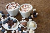 Witte mok met bosbessen en Belgische chocolade — Stockfoto