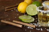 Tequila and lime Lemon and as a cigarillo — Stock Photo