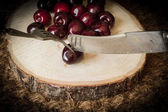 Cherry on a cut tree with old knife and fork — Stock Photo