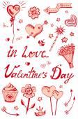 Vector set of Valentine's Day — Stock Vector
