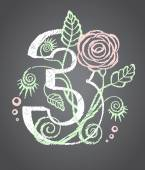 Floral numeral three for your design — Stock Vector
