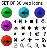 Set of thirty web icons — Stock Vector