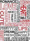 Words which relate with word love — Stock Vector
