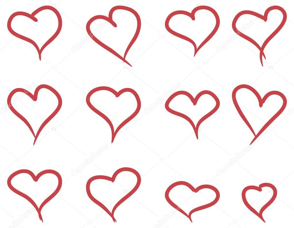 Line Drawing Heart Shape : Set di mano disegnare cuori — vettoriali stock