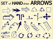 Set of hand draw  arrows — Stock Vector