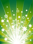 Green explosion with many white stars — Stock Vector