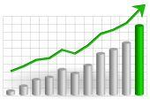 Risen graph with green arrow — Stock Vector