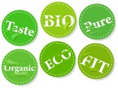 Labels with healthy words — Stock Vector
