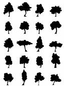 Set of trees silhouettes — Stock Vector