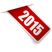 Year 2015 on red label — Stock Vector