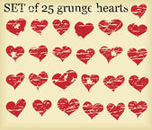 Set of 25 grunge hearts — Stockvector