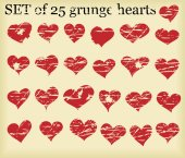 Set of 25 grunge hearts — Stok Vektör