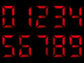 Set of red numbers on seven segment display — Vettoriale Stock
