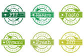 Set of stamps with words bio, fit, nature — Vector de stock