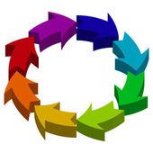 3D color arrows in circle — Vecteur