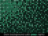 Dark background with green lights. — Stock Vector