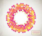Orange and yellow transparent circles arranged in ring — Vector de stock