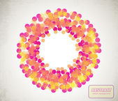 Orange and yellow transparent circles arranged in ring — Stockvektor