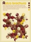 Retro brochure with hexagons in retro colors — Vector de stock