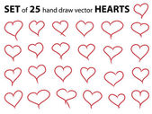 Set of 25 hand draw hearts — Stok Vektör