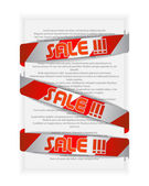 Red labels with text — Stock Vector