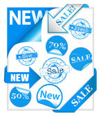 Set of blue stickers — Stock Vector