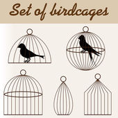 Set of birdcages with birds — Stock Vector