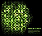 Lighting green hexagons in dark — Stock Vector