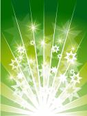 Background in green colors and stars — Stock Vector