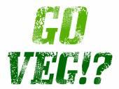 Grunge text: go veg — Stock Vector