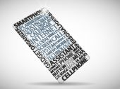 Smart phone made from words — Stock Vector