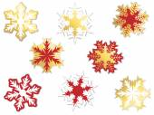 Set of snowflakes on white — Stock Vector