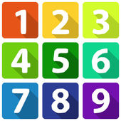 Numbers  on flat colorful plates — Stock Vector