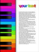 Музыка текст шаблона с фортепиано — Cтоковый вектор