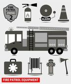 Firefighting equipment black silhouette vector illustration — Stock Vector