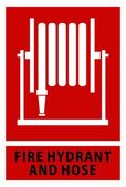 Fire hose reel sign and symbol isolated red background — ストックベクタ