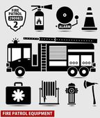 Firefighting equipment black silhouette vector illustration — Vector de stock