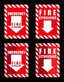 A fire extinguisher location sign for use in any safety inference — Stock Vector
