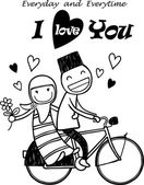Romantic concept. Couple in love on tandem bicycle — Vecteur