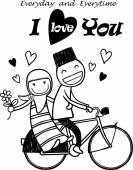 Romantic concept. Couple in love on tandem bicycle — Vetor de Stock