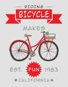 Vintage Retro Bicycle Background — Stock Vector
