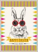 Kaninchen-Hipster Ostern — Stockvektor