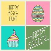 Easter egg retro card — Stock Vector