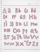 Alphabet kiddies doodle — Stock Vector
